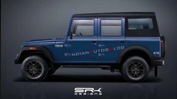 2020 Mahindra Thar 4-door side profile rendered, looks bigger