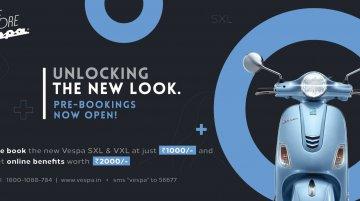 2020 Vespa VXL & Vespa SXL facelift models pre-bookings start, launch soon
