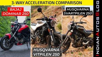 Bajaj Dominar 250 vs Husqvarna Svartpilen 250 and Vitpilen 250 - Acceleration Test