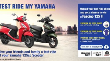 New Test Ride My Yamaha campaign could win you a Yamaha Fascino 125