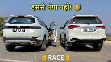 New-gen Tata Safari vs Pre-Facelift Toyota Fortuner In A Drag Race