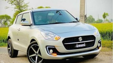 First 2021 Maruti Swift Facelift with Aftermarket 17-inchers and Low Profile Rubber