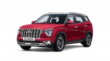 Hyundai Alcazar Rendered in Colour Palette of Creta