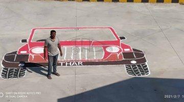 Mahindra Thar Rangoli Creates Record, Dedicated To Anand Mahindra