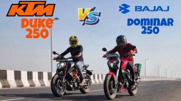 Bajaj Dominar 250 vs KTM 250 Duke - Top-End Drag Race - Who Wins?