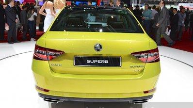2015 Skoda Superb rear view at 2015 Geneva Motor Show