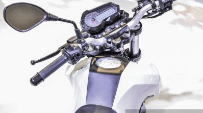 Benelli Tornado Naked T-135 rider view at Auto Expo 2016