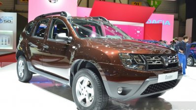 Dacia Duster Essential front three quarters view at the 2016 Geneva Motor Show