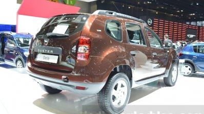 Dacia Duster Essential rear three quarter at the 2016 Geneva Motor Show
