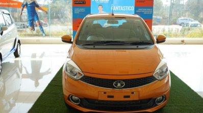 Tata Tiago front on display at a Goan dealership
