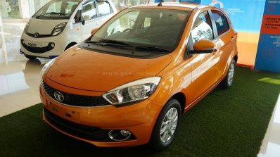 Tata Tiago front three quarter on display at a Goan dealership