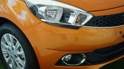 Tata Tiago headlamp on display at a Goan dealership
