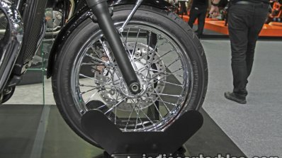 New Triumph T100 front wheel at Thai Motor Expo