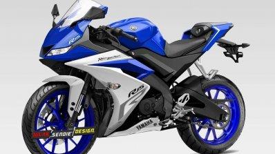 Yamaha R15 v3.0 rendering blue front three quarter