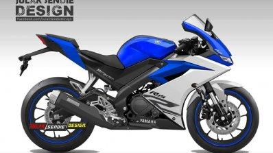 Yamaha R15 v3.0 rendering blue side