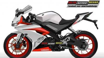 Yamaha R15 v3.0 rendering white red side