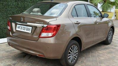 2017 Maruti Dzire rear quarter diesel First Drive Review