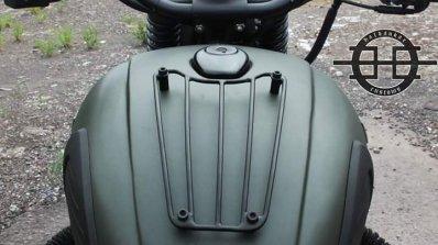 Royal Enfield Bullet 350 Encode by Haldankar Customs fuel tank grille closeup