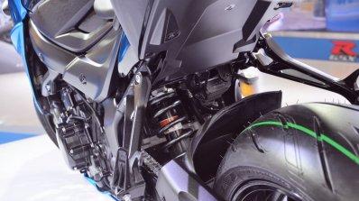 Suzuki GSX-S750 rear suspension at 2018 Auto Expo