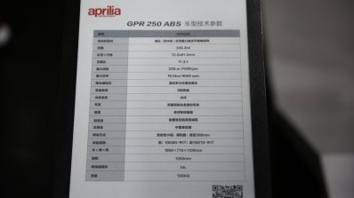 Aprilia Gpr 250 Spec Sheet
