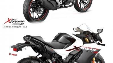 Hero Xtreme 160r Sportbike Rendering Rear Right