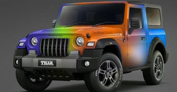 New Gen Mahindra Thar Rendered In A Set Of Bright Colours