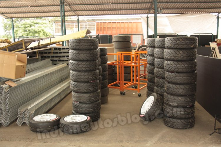 Toyota Etios Motor Racing exhibition race - Spare tyre set in the pitlane