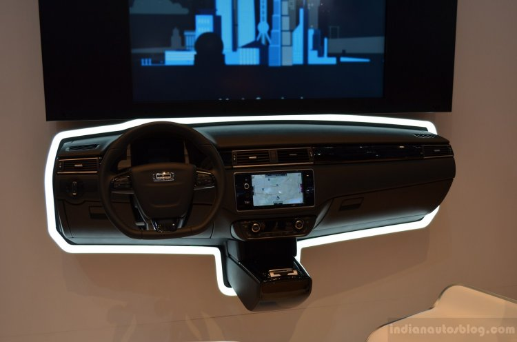 Fully functional Qoros dashboard at the Geneva Motor Show