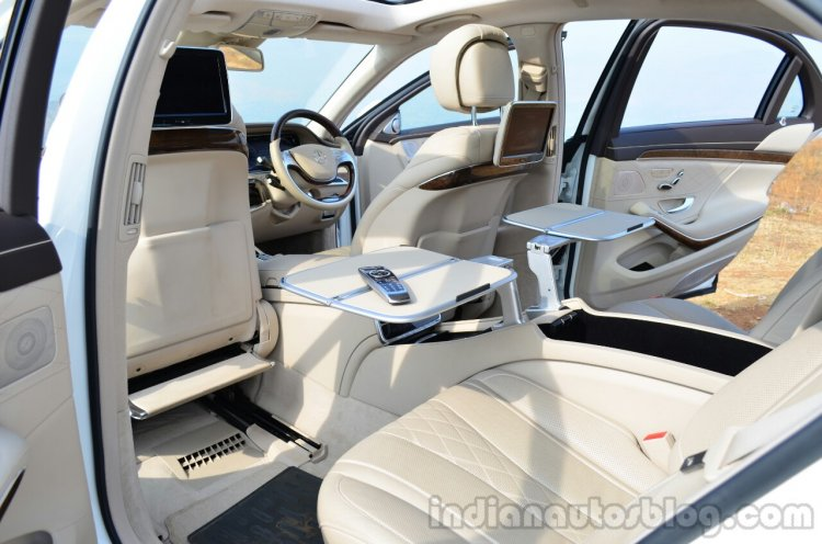 2014 Mercedes S Class review rear with tables
