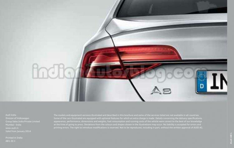 2014 Audi A8 Indian brochure taillight