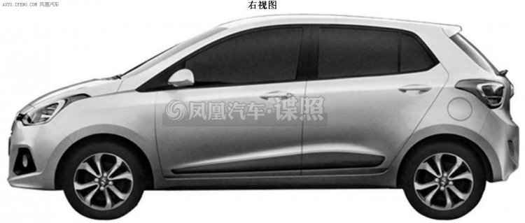 Hyundai Grand i10 profile patent in China