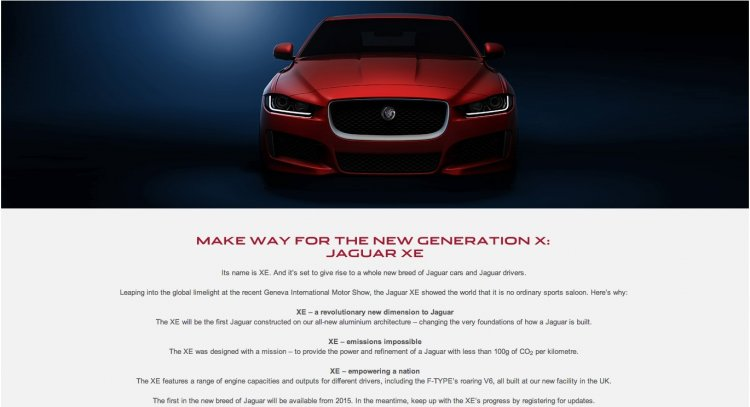 Jaguar XE website