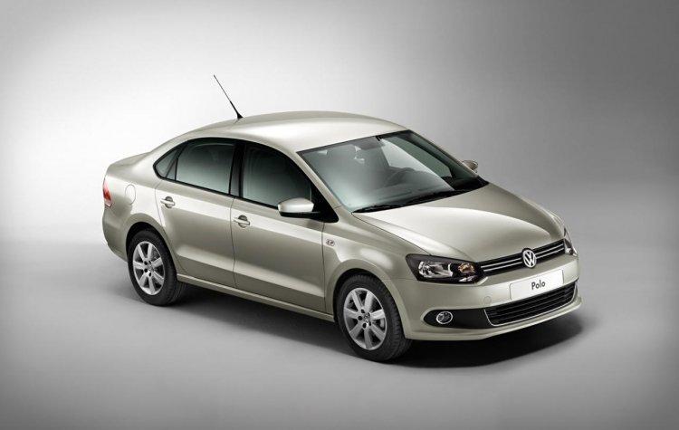 VW Polo Sedan front three quarter press shot