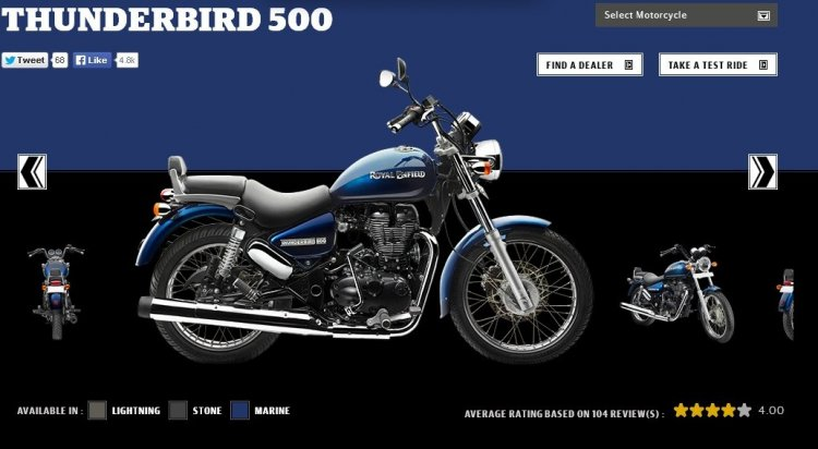 Royal Enfield Thunderbird 500 Marine colour screen capture