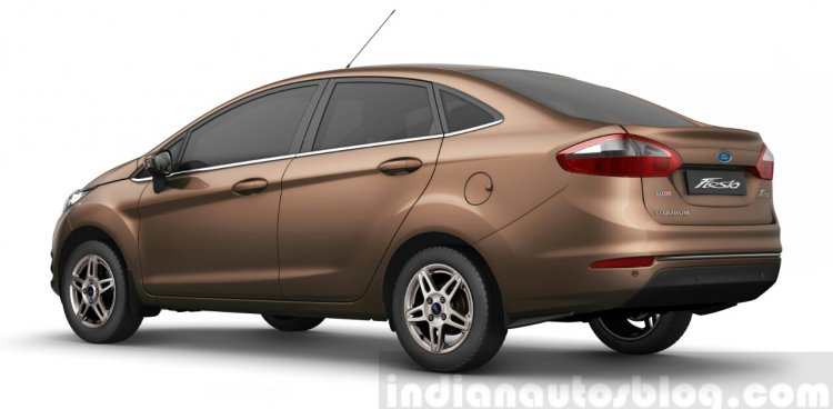 2014 Ford Fiesta rear three quarter view official image