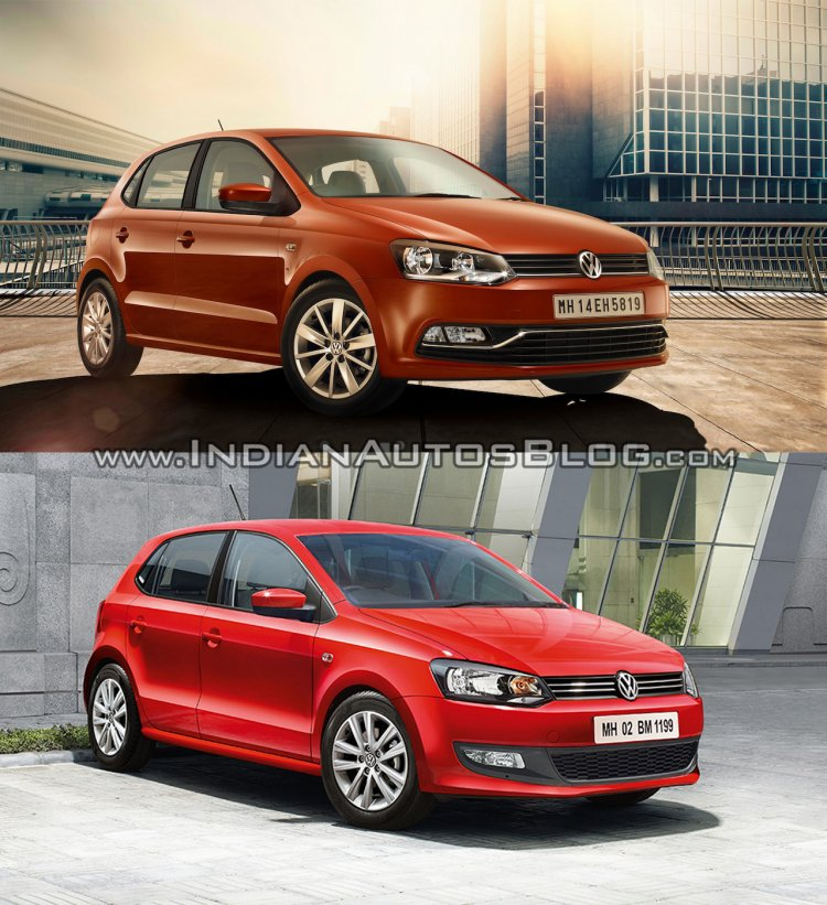 New VW Polo facelift vs old VW Polo front three quarters