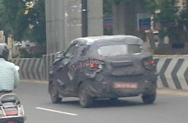 Spotted testing Mahindra S101 rear