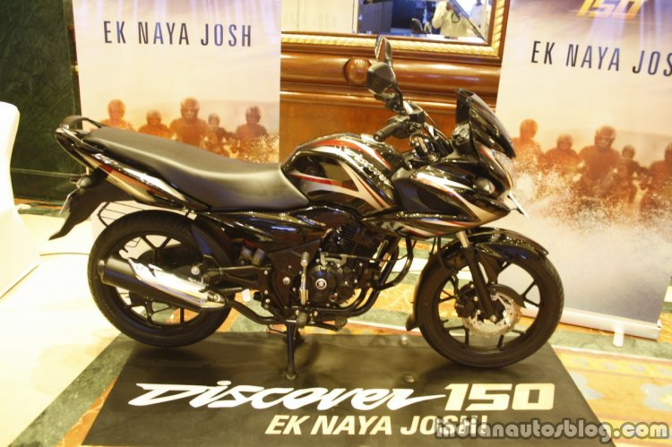 Bajaj Discover 150 F Launch black and red profile