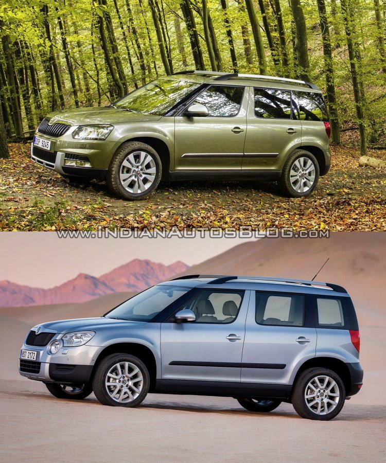 2014 Skoda Yeti facelift vs old Skoda Yeti side