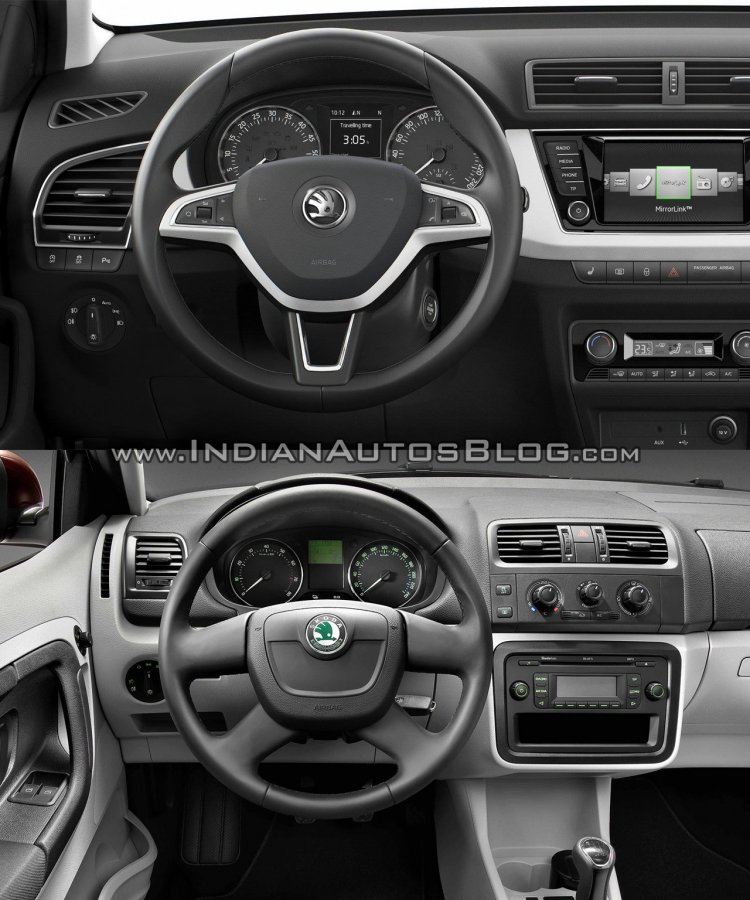 2015 Skoda Fabia dashboard vs current Skoda Fabia dashboard