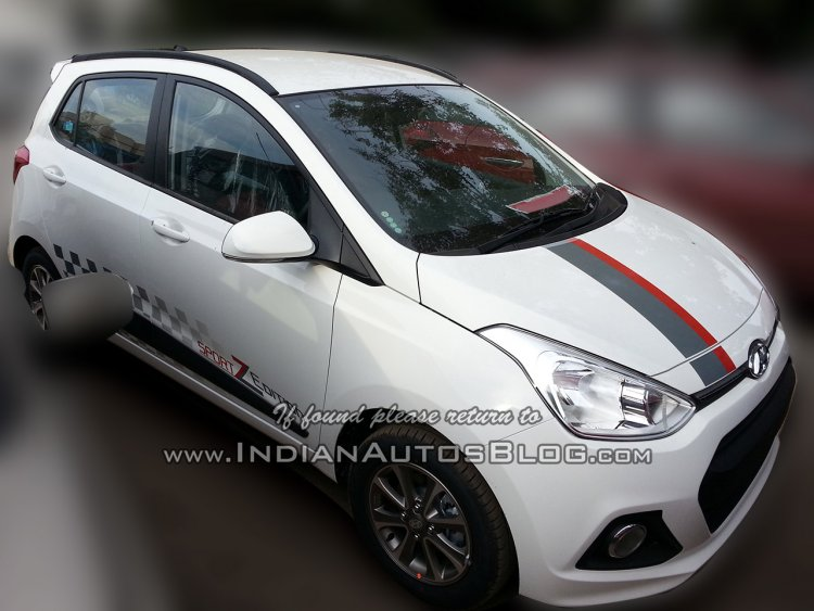 Hyundai Grand i10 SportZ edition front three quarters left