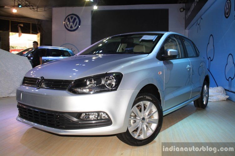 VW Polo facelift front three quarter at the NADA Auto Show Nepal