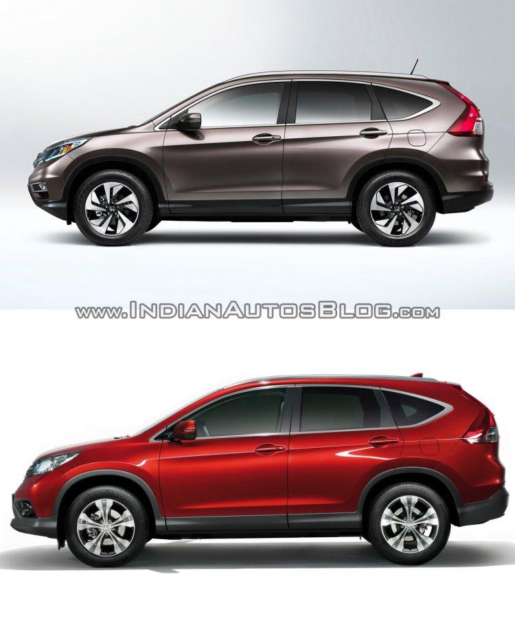 2015 Honda CR-V (facelift) side vs pre-facelift model side