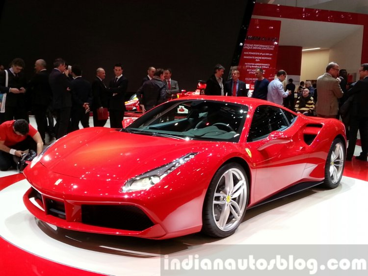 Ferrari 488 GTB at the 2015 Geneva Motor Show front three quarter