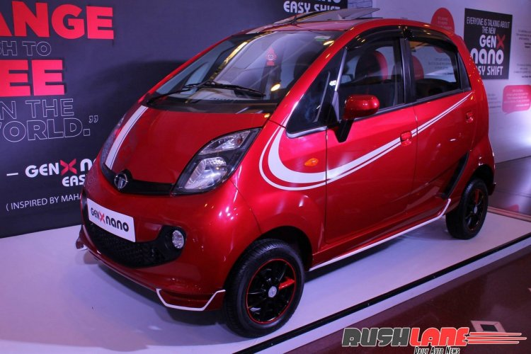 2015 Tata GenX Nano front three quarter with sporty accessories and sunroof