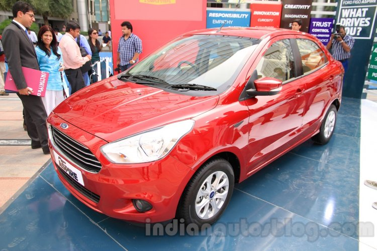 Ford Figo Aspire front three quarters view from unveiling