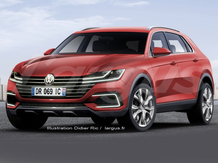 2016 VW Tiguan front three quarter inspired by Sport Coupe Concept GTE