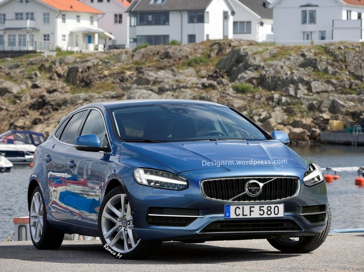 2016 Volvo V40 (facelift) front three quarter rendering