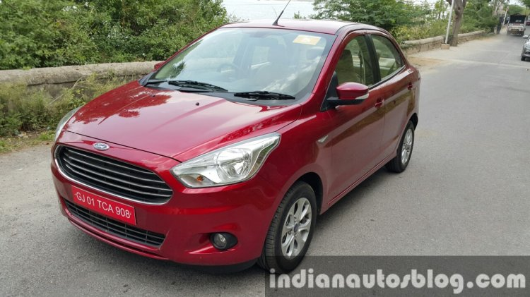 2015 Ford Figo Aspire Titanium Plus Petrol front top quarter first drive review