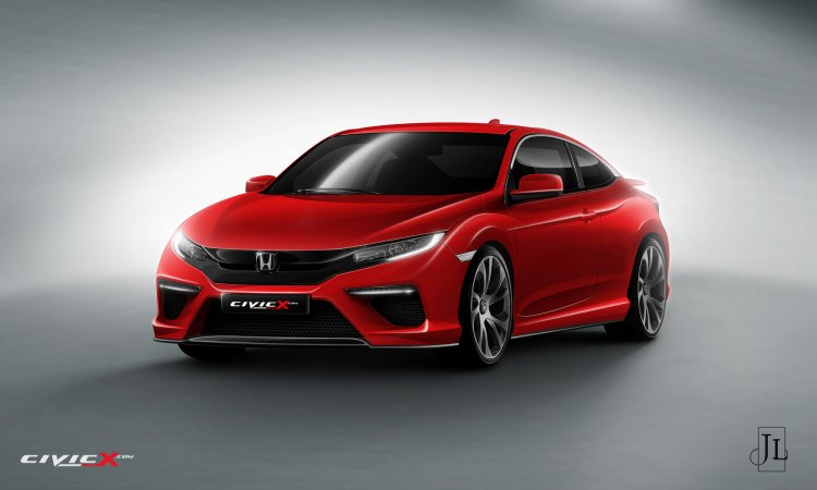 2016 Honda Civic Coupe front three quarter rendering